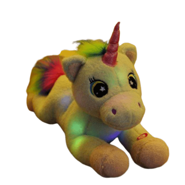 plush unicorn who lights up bow in sky