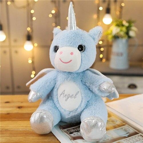 plush unicorn with wing blue not dear