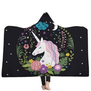poncho unicorn moon black 130x150cm buy