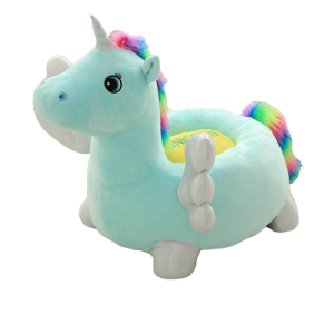 pouf unicorn blue bow in sky 60 cm