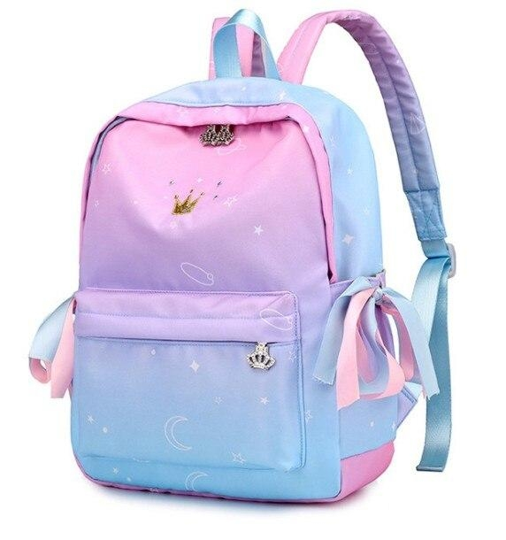 school bag unicorn degraded pink and blue bag and backpack unicorn