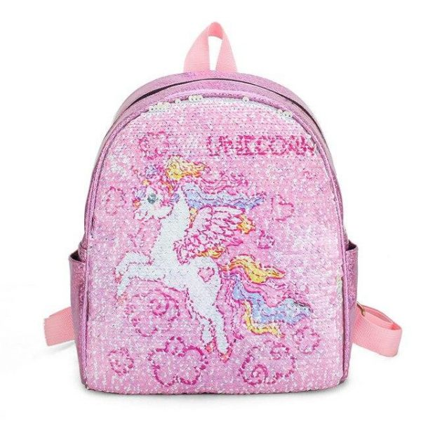 school bag unicorn mauve sparkling blue at sell