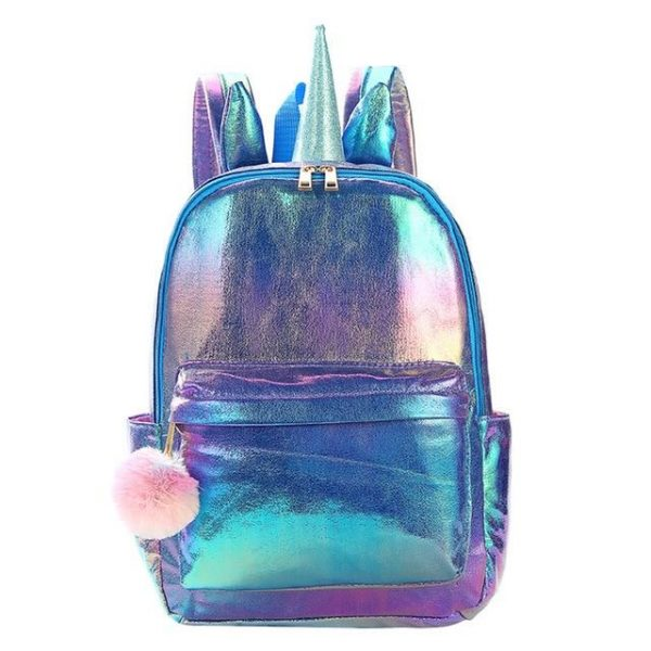 schoolbag unicorn pink with horns purple blade at sell