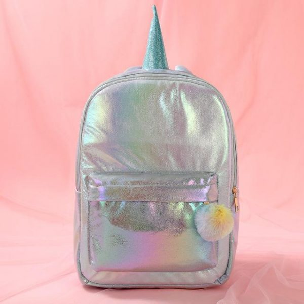 schoolbag unicorn pink with horns purple pale