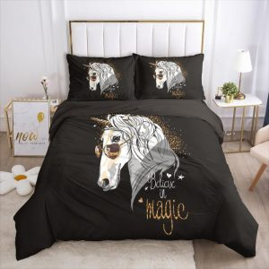 set of bed unicorn believe in magic unicorn 005 black d pillowcase 70x70cmx2 at sell