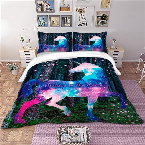 set of bed unicorn believe in tea dream great king 270x240cm at sell