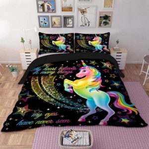 set of bed unicorn black shiny 210x210 price