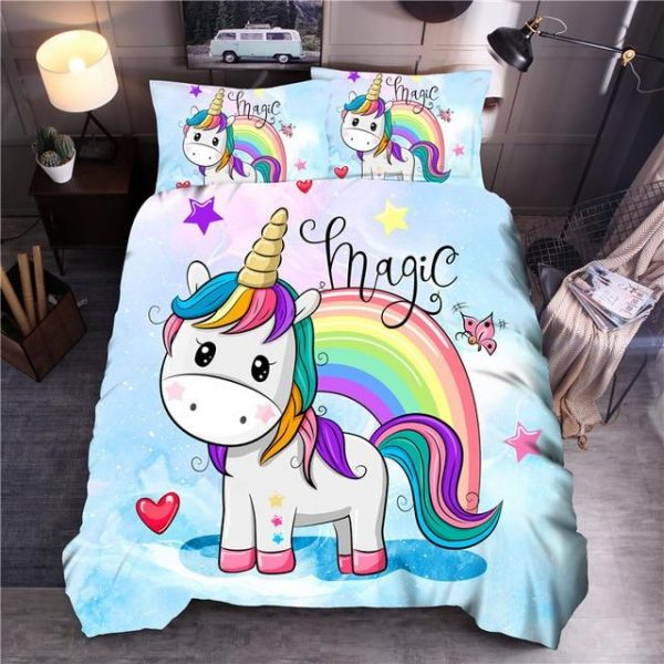set of bed unicorn bow in sky drawing had double buy