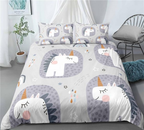 set of bed unicorn child grey at double 180x210cm at sell