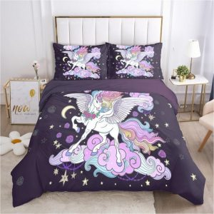 set of bed unicorn child mauve pillowcase 70x70cmx2 not dear