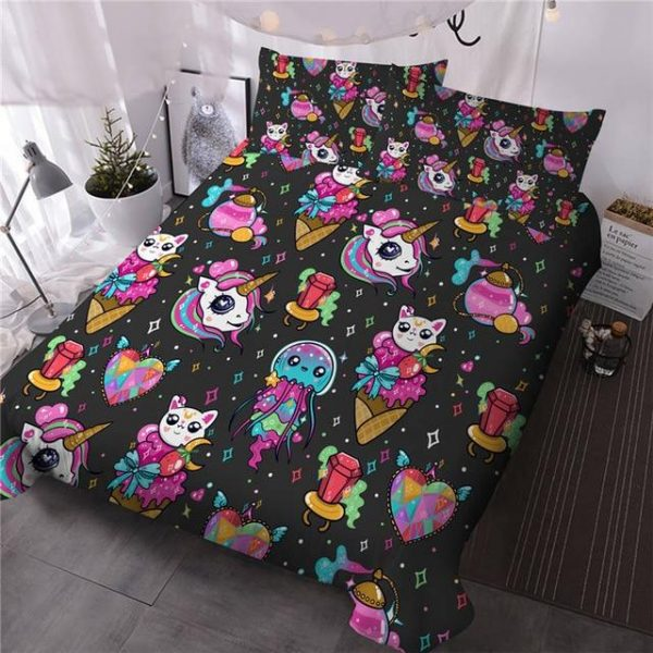 set of bed unicorn explosion of colors full 203cmx228cm