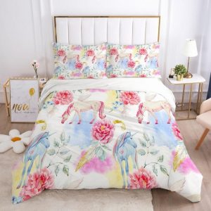 set of bed unicorn flowers colors pastel usa twin
