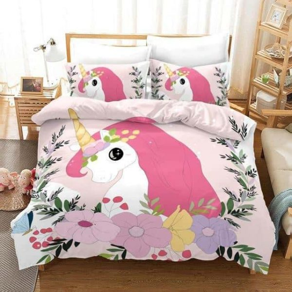 set of bed unicorn flowery 210x210cm price