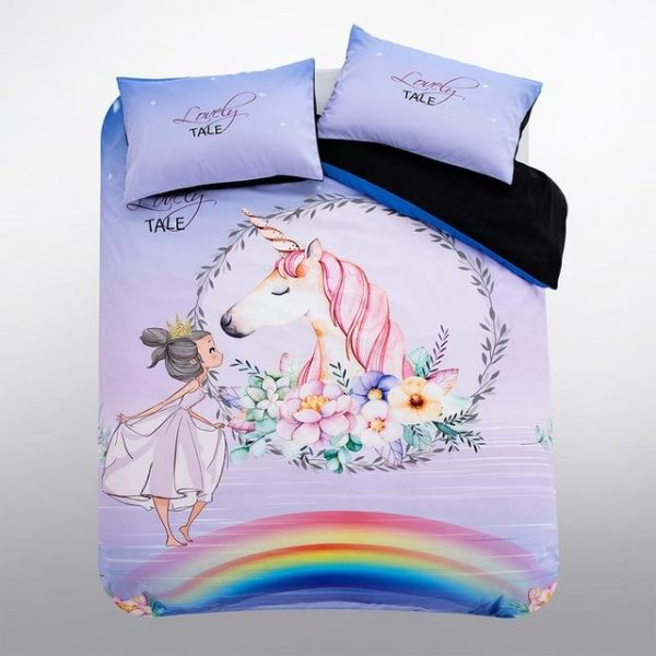 set of bed unicorn friendship bow in sky at king 3pcs not dear