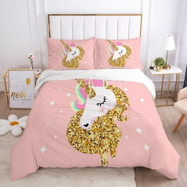 set of bed unicorn golden uk double at sell
