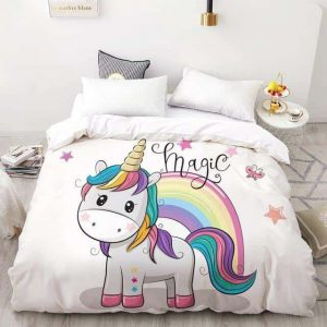 set of bed unicorn kawaii bow in sky 210x245cmx1pc not dear