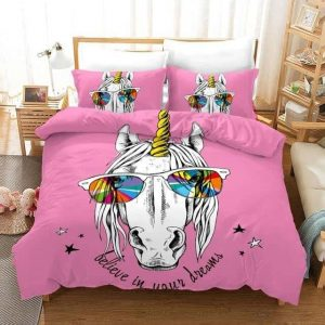 set of bed unicorn pink at glasses 135x200cm