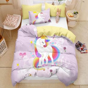 set of bed unicorn pink bow in sky at double 3pcs price