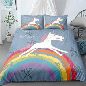 set of bed unicorn race bow in sky us queen 229x229cm unicorn backpack store