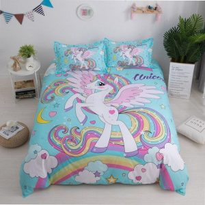 set of bed unicorn sky kawaii had double decoration unicorn