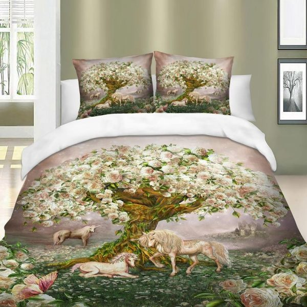 set of bed unicorn tree flowers great king 270x240cm at sell