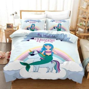set of bed unicorn vs mermaid 135x200cm decoration unicorn