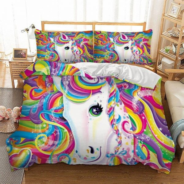 set of bed unicorn whirlpool multicolored at single not dear