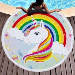 sheet of beach unicorn bow in sky