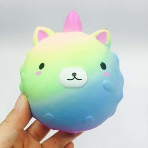 squichy unicorn ball blue and green