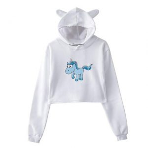 sweat unicorn crop top blue l at sell