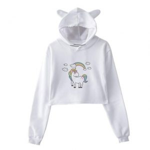 sweat unicorn crop top bow in sky xxl at sell