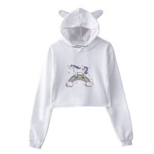 sweat unicorn crop top night m