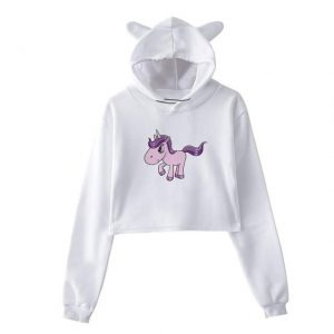 sweat unicorn crop top pink kawaii s not dear