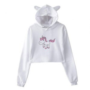 sweat unicorn crop top pink xl