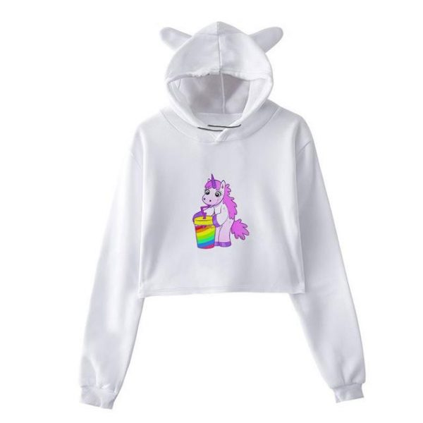 sweat unicorn crop top slush bow in sky l