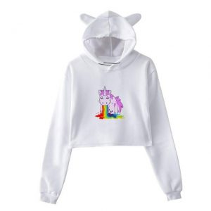 sweat unicorn crop top throws up bow in sky xl at sell