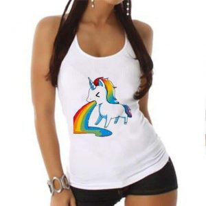 tank top unicorn throws up bow in sky xxl tank top unicorn