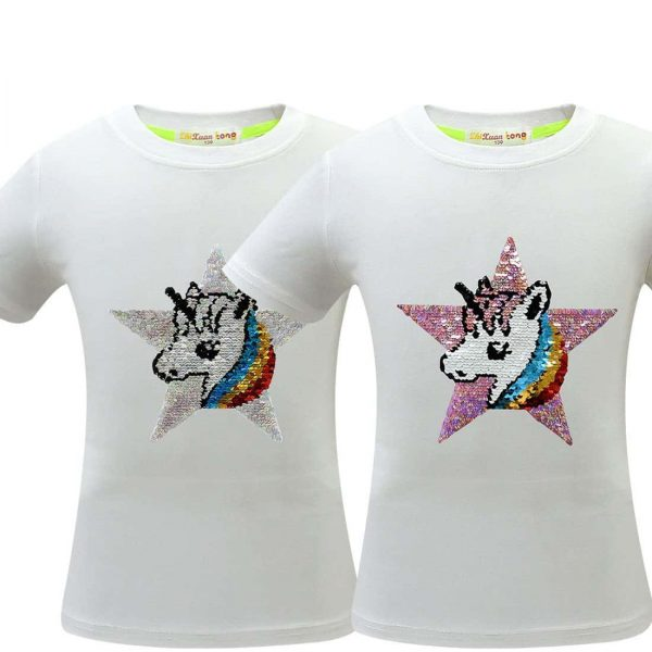 tee shirt sparkling reversible unicorn white 4 to sell