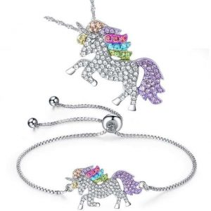 together unicorn pendant and bracelet in crystal unicorn backpack store