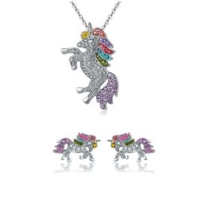 together unicorn pendant and loop ear in crystal jewelry unicorn
