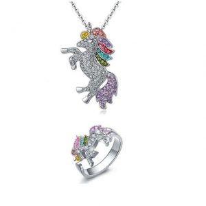 together unicorn pendant and ring in crystal buy